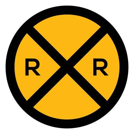 Passage à niveau devant le panneau de signalisation vector illustration. Jaune, noir. Parfait pour le symbole, l'icône, le signe, l'autocollant, etc.