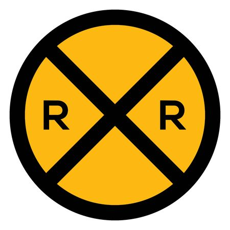 Railroad crossing ahead traffic sign vector illustration. Yellow, black. Perfect for symbol, icon, sign, sticker etc.