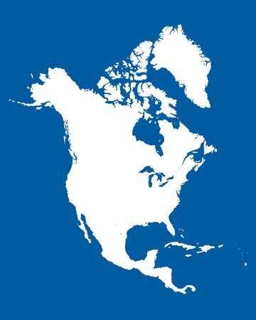 North america map vector with countries US, Canada, mexico, Bermuda, St. Pierre and greenland