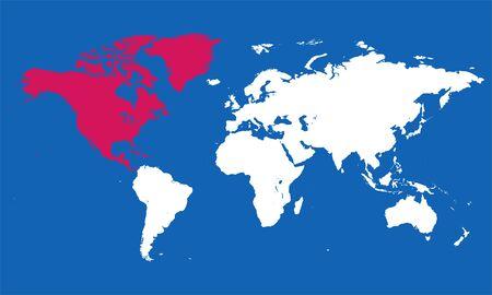 World map north america vector illustration. Blue background.