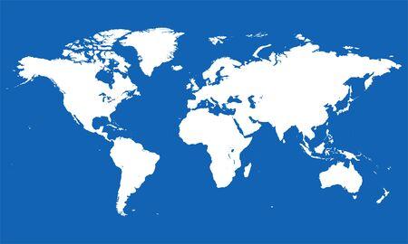 Blank world map vector illustration. Blue, white. Illustration