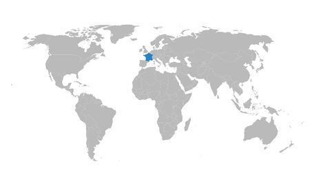 France marked by blue in world map vector political. European country. Illustration