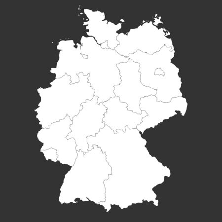 Germany map with boundaries outline vector illustration. Gray, white.