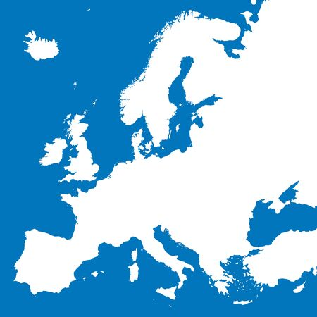 European continent boundaries or Europe map vector illustration. Blue background.