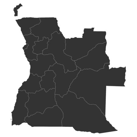 Angola provinces map with boundaries vector illustration. Gray color.