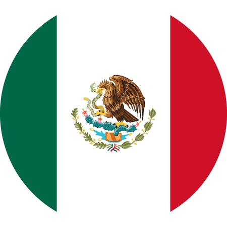 Mexican flag round icon or mexico flag sticker vector illustration -Badge,sticker,label,banner,background, wallpaper, symbol, icon etc.