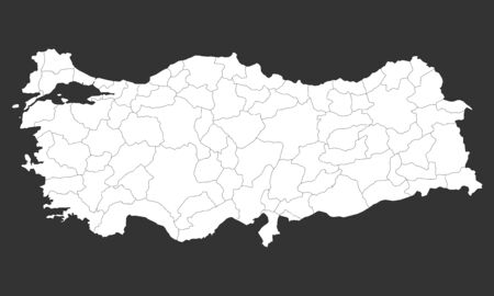 Modern White turkey map with provinces on gray background vector illustration.