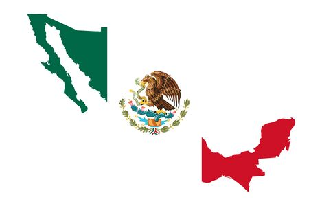 Mexico map flag vector illustration background. North american country.