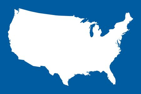 US map mainland vector illustration. Blue white. United states north american country. Çizim