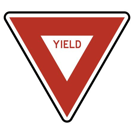 Yield sign Road traffic symbol vector illustration. Red, black, white.