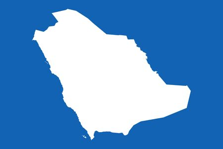 Saudi arabia map with boundaries vector illustration. Arab country. Blue, white. Çizim