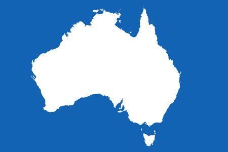 Australia map vector Continent graphic illustration. Blue,white.