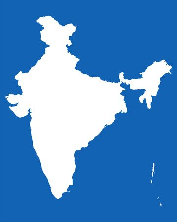 India map with boundaries vector illustration graphics design. Blue, white. Illustration