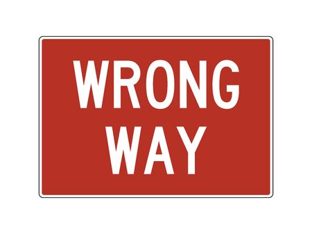 Wrong way sign conjunction with DO NOT ENTER vector illustration. Traffic symbol.