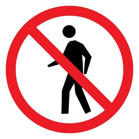 No pedestrian crossing symbol vector illustration. Red circle.