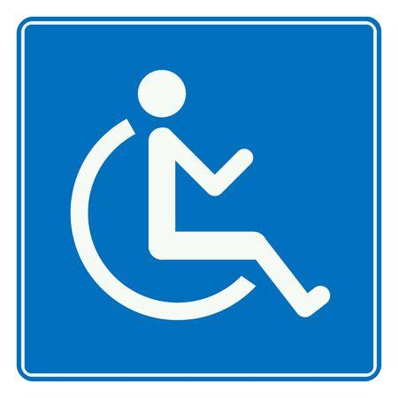 Blue disabled handicap symbol vector illustration