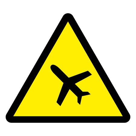 Caution airplane warning sign vector illustration. Yellow triangle sign board.
