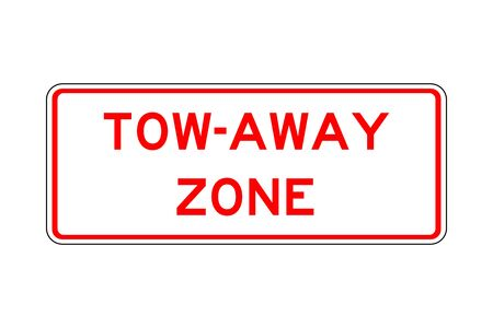 Tow-away zone traffic sign vector illustration. Red, white. Çizim