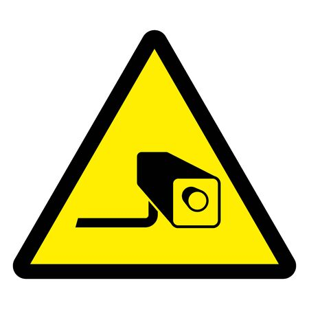24 hour CCTV surveillance camera monitor warning sign vector illustration. Yellow triangle.