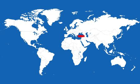 World map highlighted turkey with red color vector illustration. Blue background. Perfect for backgrounds and wallpapers.