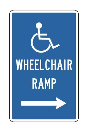 Handicap Wheelchair Ramp right vector illustration background. Blue. Illustration