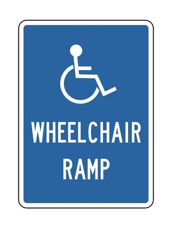 Handicap Wheelchair Ramp sign with blue background vector illustration