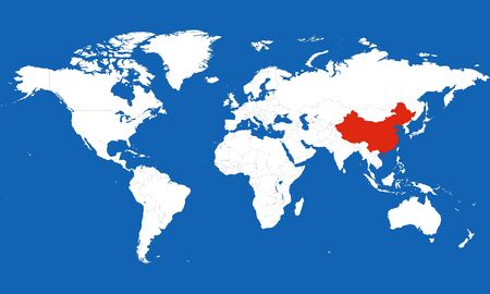 World map highlighted china with red color vector illustration. Blue background.