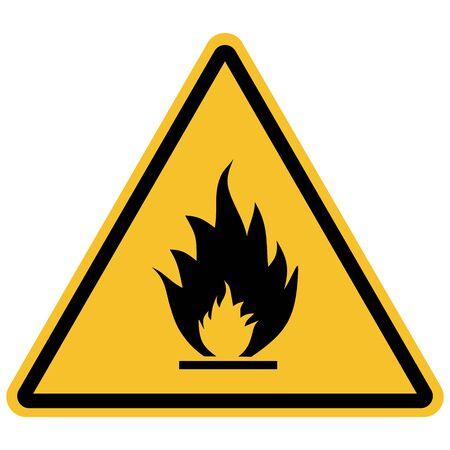 Flammable materials warning sign vector illustration. Hazard symbols. Illustration