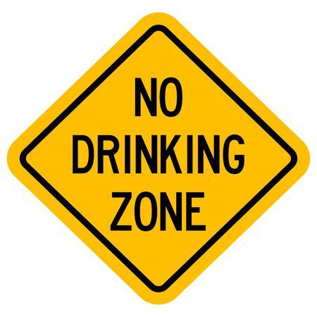 No drinking zone warning sign vector illustration. Diamond yellow board. Illustration