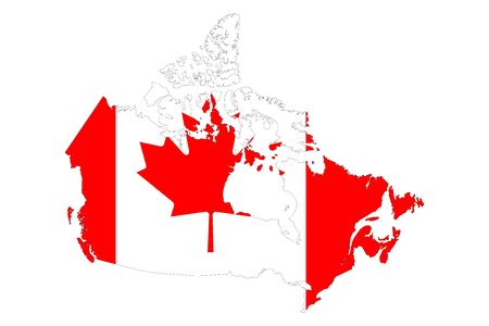 Canada map flag vector illustration. North american country.
