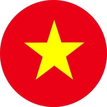 Vietnam flag round vector illustration. Asian country. Perfect for stickers, glossy, print, icons, symbols and signs.