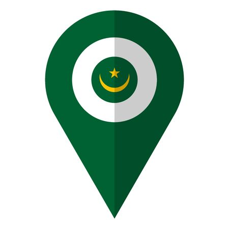Mauritania flag location pin vector illustration. African country.