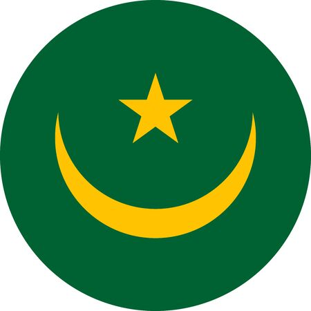 Mauritania flag round icon vector illustration. Perfect for stickers, glossy, print, icons, symbols and signs.