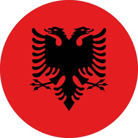 Albanian round flag icon vector illustration. Perfect for stickers, glossy, print, icons, symbols and signs.