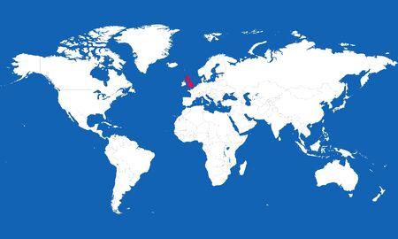 World map highlighted united kingdom vector illustration. Blue background.