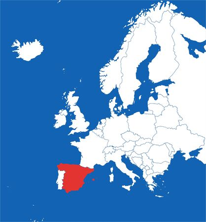 Europe map highlighted spain vector illustration. Blue sea background.