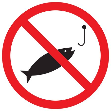 No fishing sign vector illustration. Not allowed prohibited caution symbol. Red circle.