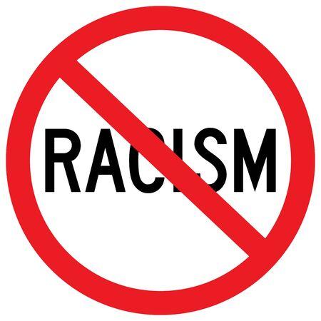 No al signo de racismo o detener la discriminación ilustración vectorial Ilustración de vector