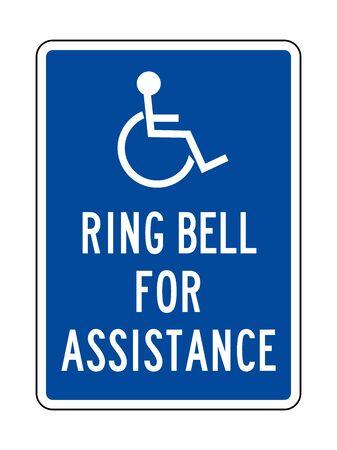 Ring bell for assistance or Handicap assistance sign vector illustration. Blue, white. Hospital symbol.