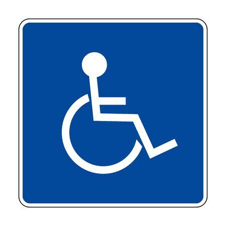 Blue Handicap sign vector illustration. Blue, white. Hospital symbols.