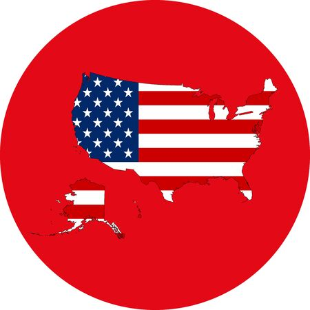 US map flag icon vector illustration. Perfect for sticker, sign, symbol, label etc.