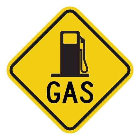 Gas station sign vector illustration. Warning symbols. Yellow diamond board. Perfect for Filling gas, petrol, gasoline etc.