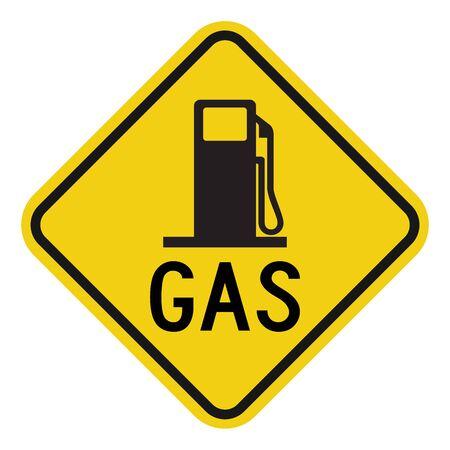 Gas station sign vector illustration. Warning symbols. Yellow diamond board. Perfect for Filling gas, petrol, gasoline etc.