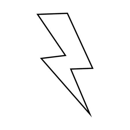 Thunder, lightning, electric power lining icon vector illustration. Black.