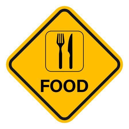 Food sign diamond yellow board graphics symbol vector illustration.