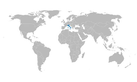 Black world map italy highlighted with blue color vector illustration. European country. Gray background.