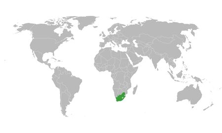South africa highlighted in green color on world map vector illustration.
