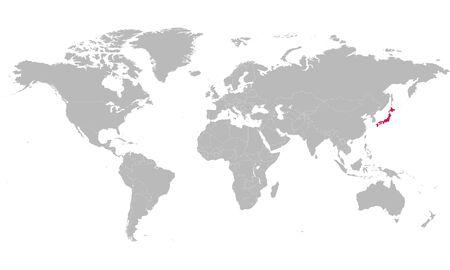 Politische Weltkarte hob Japan in rosafarbener Vektorillustration hervor. Asiatisches Land.