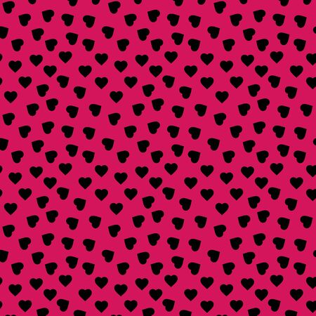 Valentines day festive heart seamless pattern vector background. Modern designs. Pink, black color.