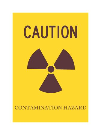 Caution contamination hazard warning sign vector. Yellow, brown color.